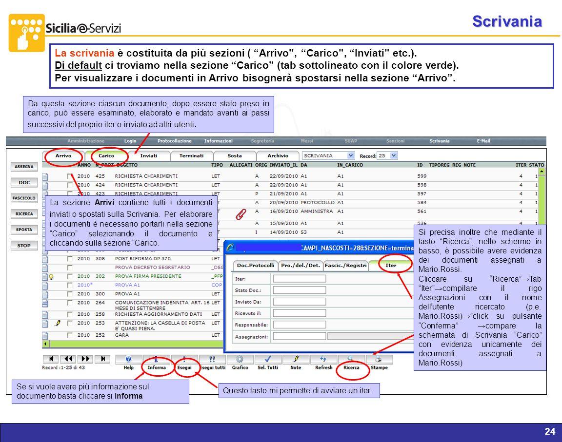 Report servizi IVR e CM24 La scrivania è costituita da più sezioni ( Arrivo, Carico, Inviati etc.). Di default ci troviamo nella sezione Carico (tab s