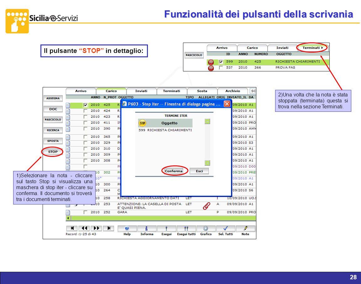 Report servizi IVR e CM28 Funzionalità dei pulsanti della scrivania Il pulsante STOP in dettaglio: 1)Selezionare la nota - cliccare sul tasto Stop si