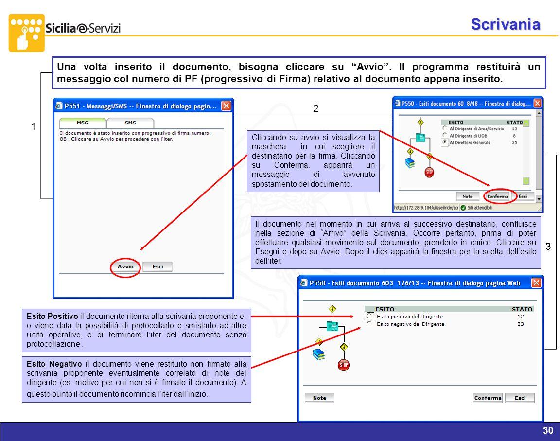 Report servizi IVR e CM30 Scrivania Una volta inserito il documento, bisogna cliccare su Avvio. Il programma restituirà un messaggio col numero di PF