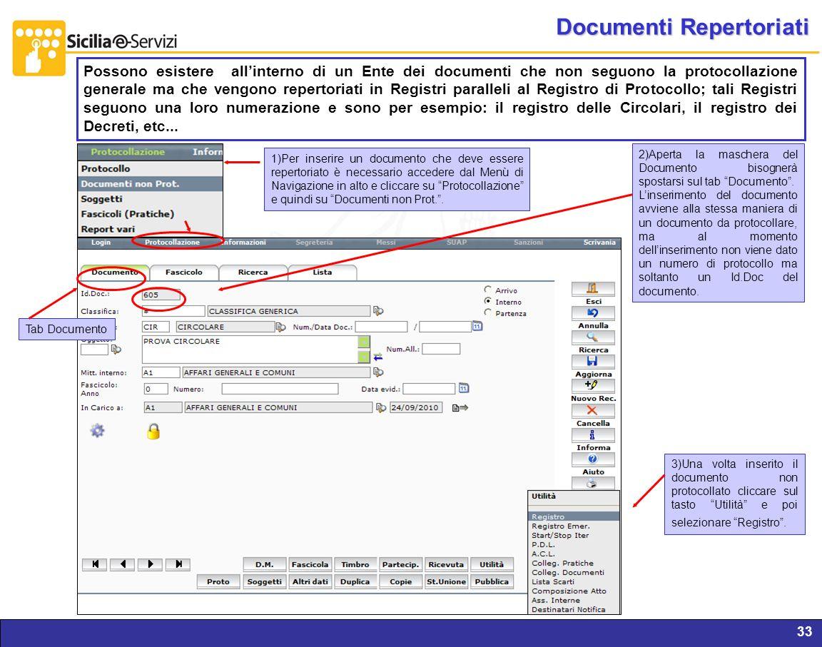 Report servizi IVR e CM33 Documenti Repertoriati Possono esistere allinterno di un Ente dei documenti che non seguono la protocollazione generale ma c