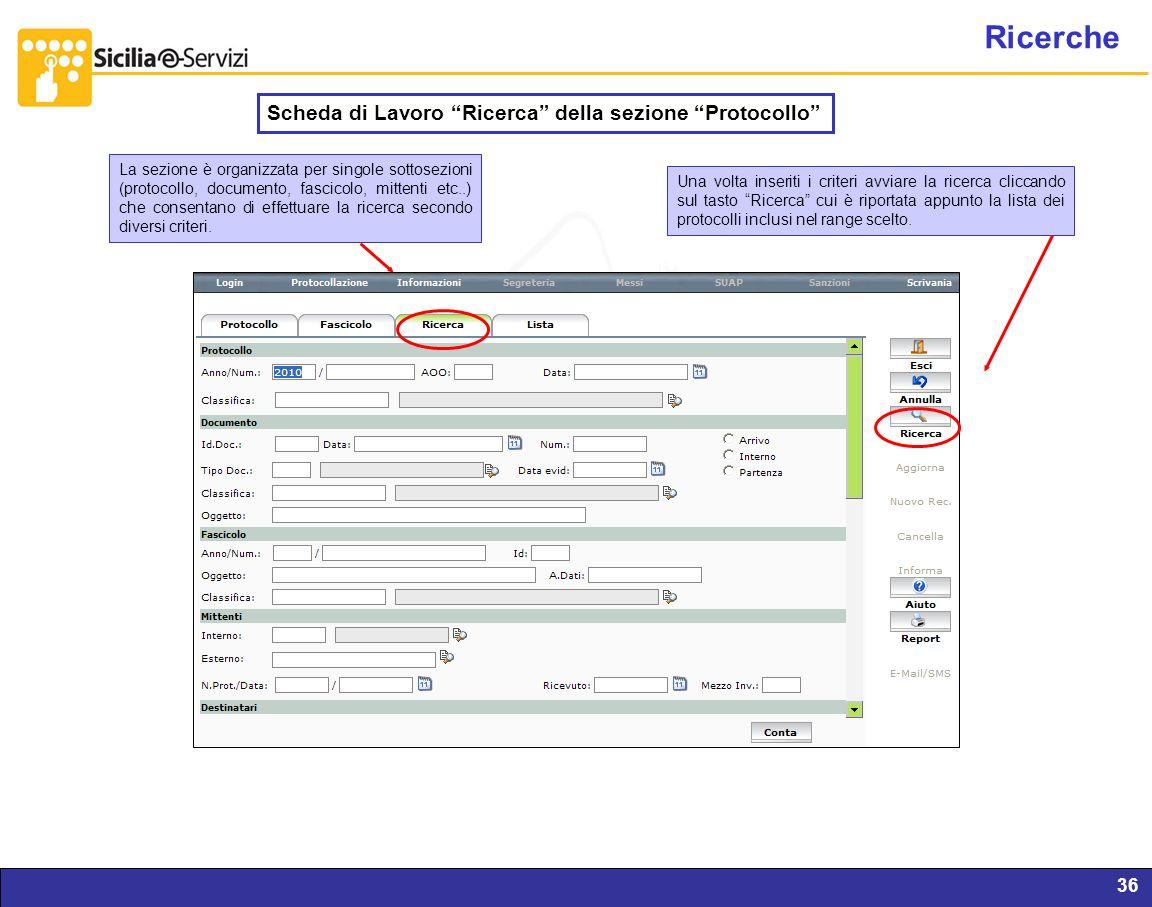 Report servizi IVR e CM36 Ricerche Scheda di Lavoro Ricerca della sezione Protocollo La sezione è organizzata per singole sottosezioni (protocollo, do