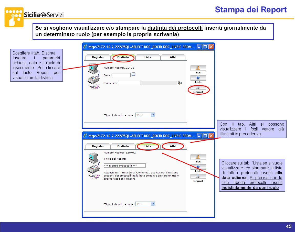Report servizi IVR e CM45 Stampa dei Report Se si vogliono visualizzare e/o stampare la distinta dei protocolli inseriti giornalmente da un determinat
