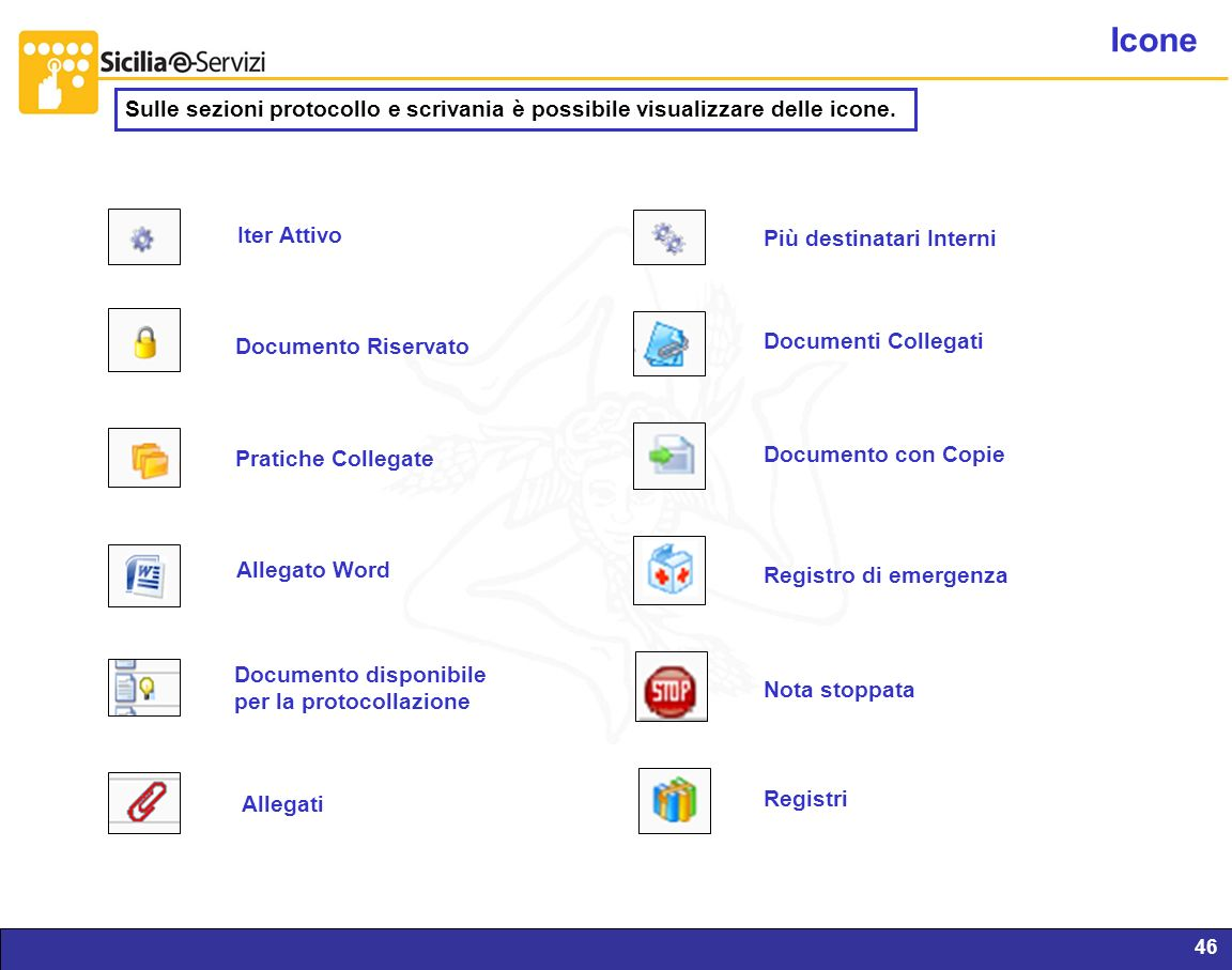 Report servizi IVR e CM46 Icone Pratiche Collegate Documento Riservato Iter Attivo Allegato Word Documento disponibile per la protocollazione Più dest