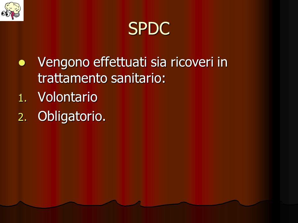 SPDC Vengono effettuati sia ricoveri in trattamento sanitario: Vengono effettuati sia ricoveri in trattamento sanitario: 1. Volontario 2. Obligatorio.