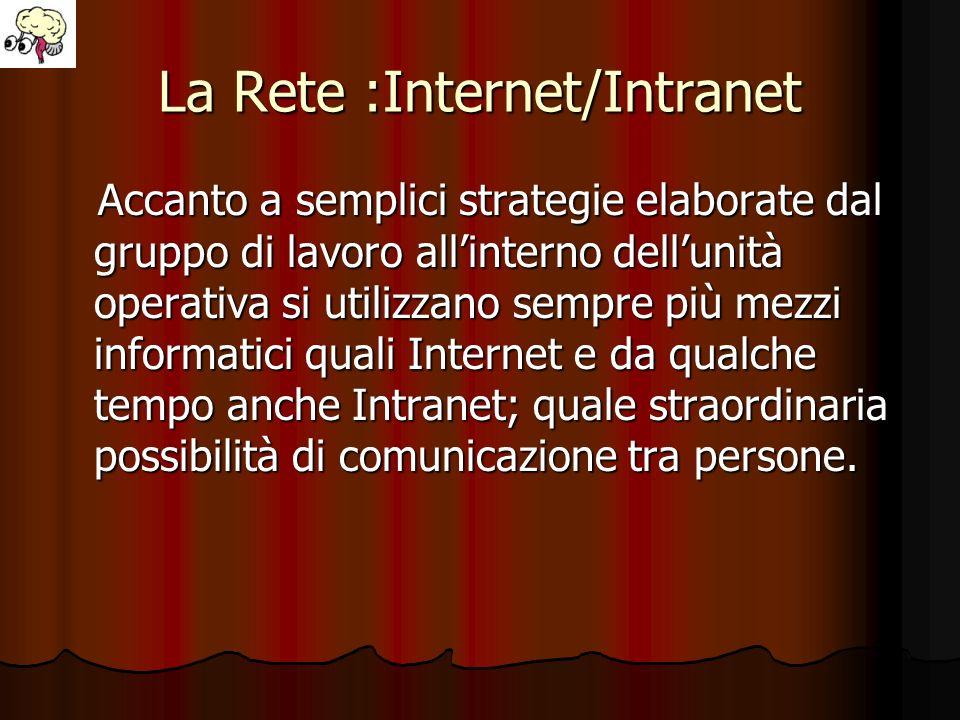 La Rete :Internet/Intranet Accanto a semplici strategie elaborate dal gruppo di lavoro allinterno dellunità operativa si utilizzano sempre più mezzi i