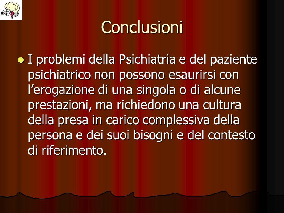 Conclusioni I problemi della Psichiatria e del paziente psichiatrico non possono esaurirsi con lerogazione di una singola o di alcune prestazioni, ma