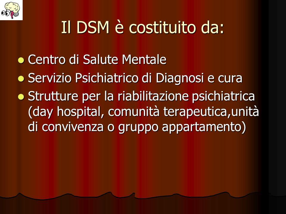 Il DSM è costituito da: Centro di Salute Mentale Centro di Salute Mentale Servizio Psichiatrico di Diagnosi e cura Servizio Psichiatrico di Diagnosi e