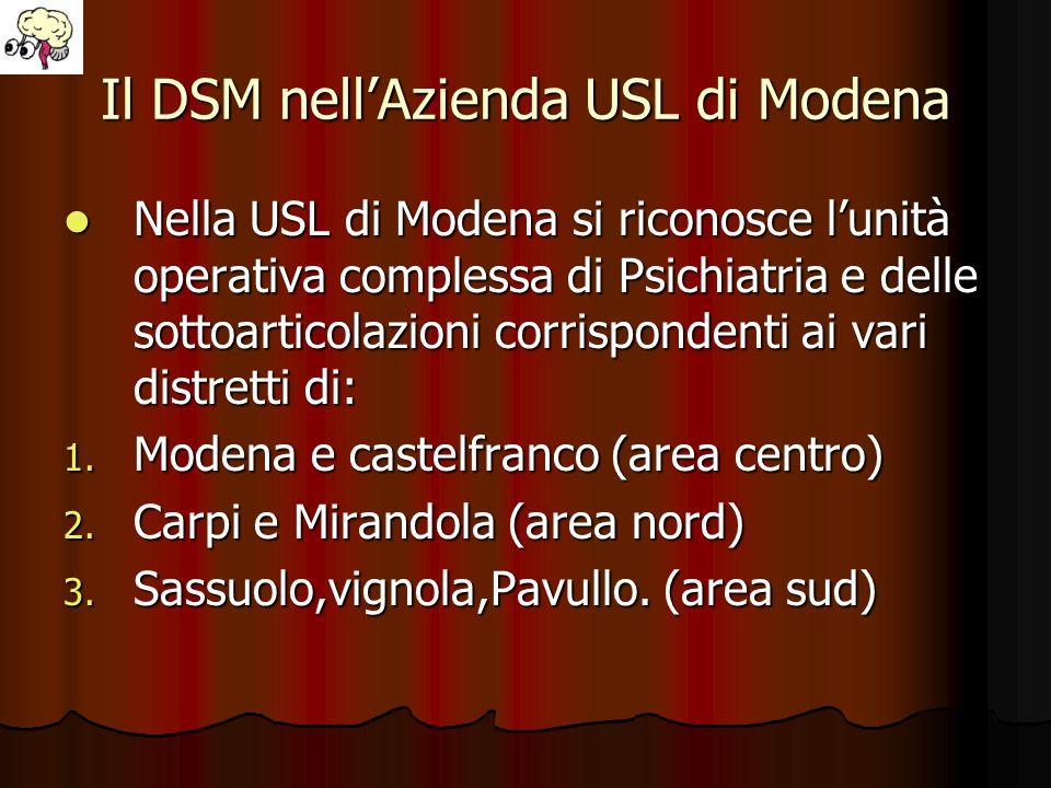 Il DSM nellAzienda USL di Modena Nella USL di Modena si riconosce lunità operativa complessa di Psichiatria e delle sottoarticolazioni corrispondenti