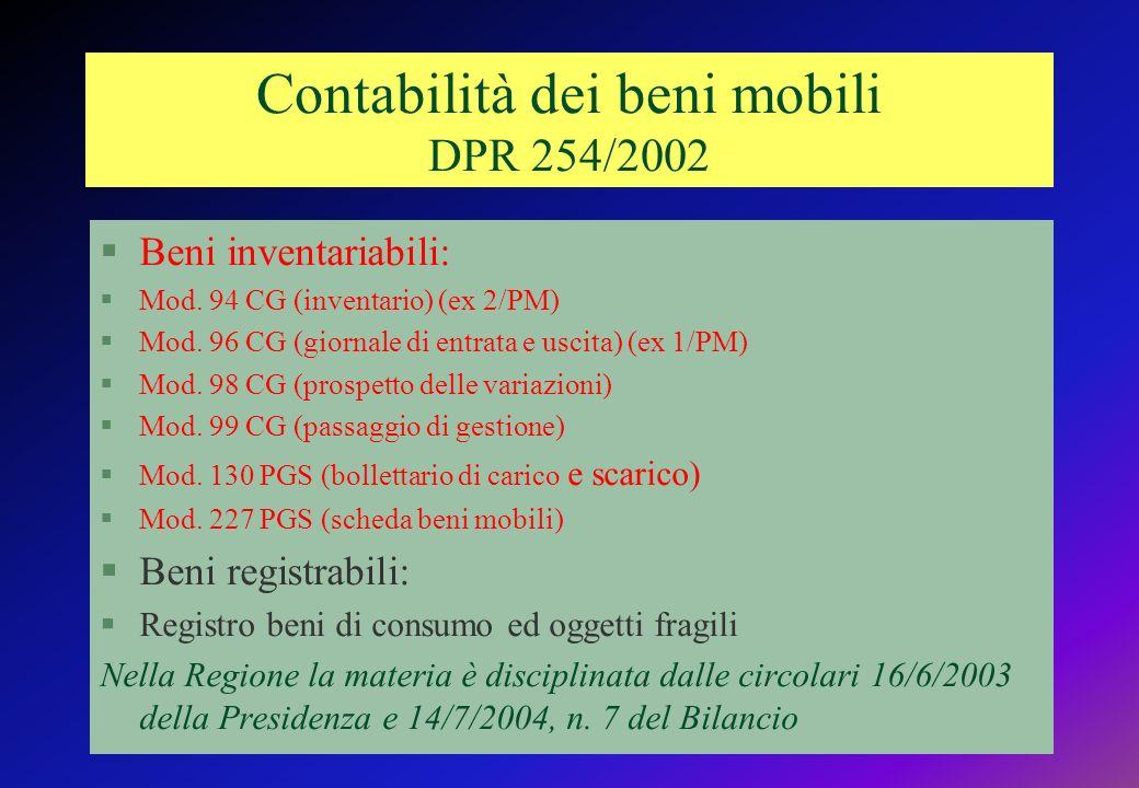 Contabilità dei beni mobili DPR 254/2002 §Beni inventariabili: §Mod.