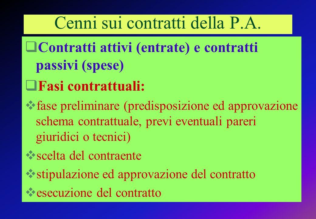 Cenni sui contratti della P.A.