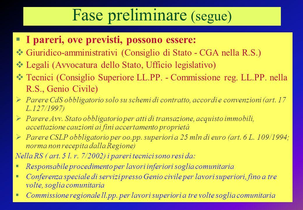 Fase preliminare (segue) I pareri, ove previsti, possono essere: Giuridico-amministrativi (Consiglio di Stato - CGA nella R.S.) Legali (Avvocatura dello Stato, Ufficio legislativo) Tecnici (Consiglio Superiore LL.PP.