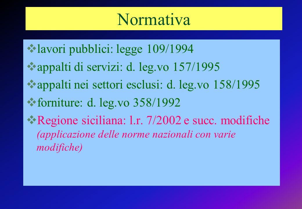Normativa lavori pubblici: legge 109/1994 appalti di servizi: d.