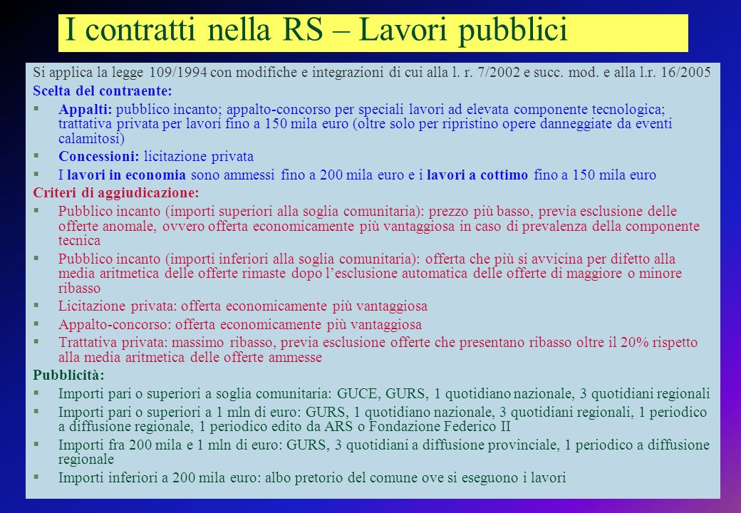 I contratti nella RS – Lavori pubblici Si applica la legge 109/1994 con modifiche e integrazioni di cui alla l.