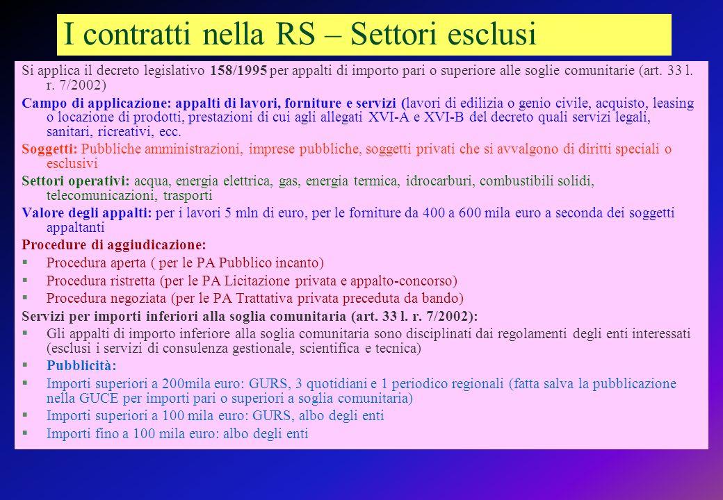 I contratti nella RS – Settori esclusi Si applica il decreto legislativo 158/1995 per appalti di importo pari o superiore alle soglie comunitarie (art.