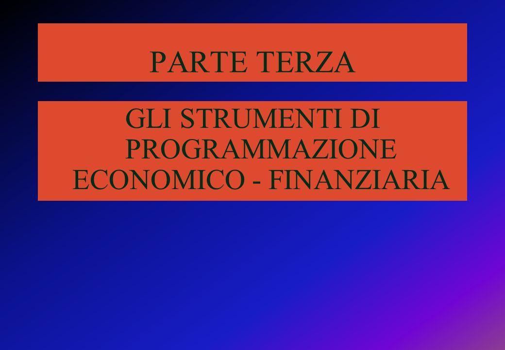 PARTE TERZA GLI STRUMENTI DI PROGRAMMAZIONE ECONOMICO - FINANZIARIA