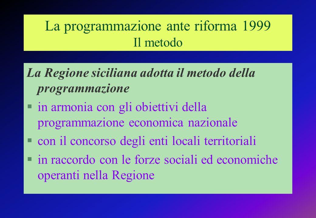 La programmazione ante riforma 1999 Il metodo La Regione siciliana adotta il metodo della programmazione §in armonia con gli obiettivi della programmazione economica nazionale §con il concorso degli enti locali territoriali §in raccordo con le forze sociali ed economiche operanti nella Regione