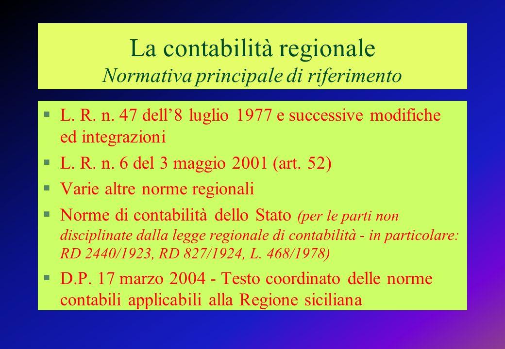La contabilità regionale Normativa principale di riferimento §L.