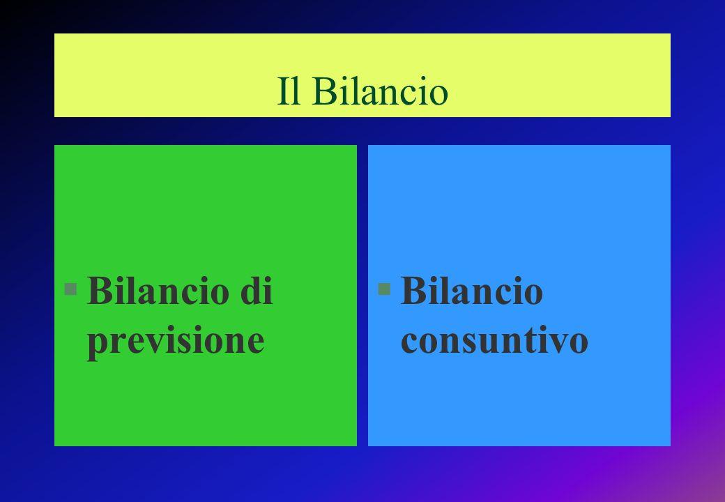 §Bilancio di previsione §Bilancio consuntivo Il Bilancio