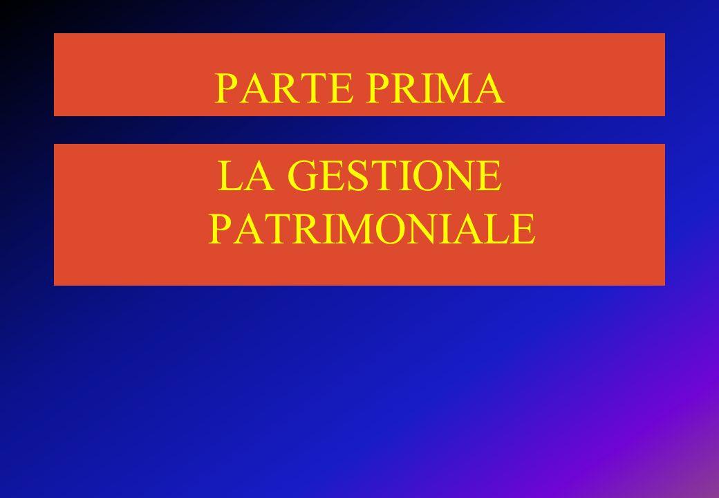 PARTE PRIMA LA GESTIONE PATRIMONIALE