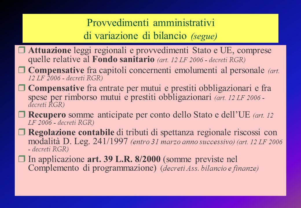 Provvedimenti amministrativi di variazione di bilancio (segue) Attuazione leggi regionali e provvedimenti Stato e UE, comprese quelle relative al Fondo sanitario (art.