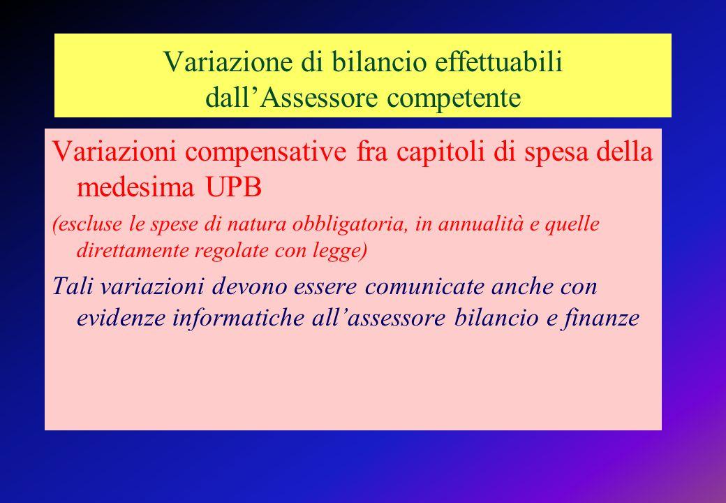 Variazione di bilancio effettuabili dallAssessore competente Variazioni compensative fra capitoli di spesa della medesima UPB (escluse le spese di natura obbligatoria, in annualità e quelle direttamente regolate con legge) Tali variazioni devono essere comunicate anche con evidenze informatiche allassessore bilancio e finanze