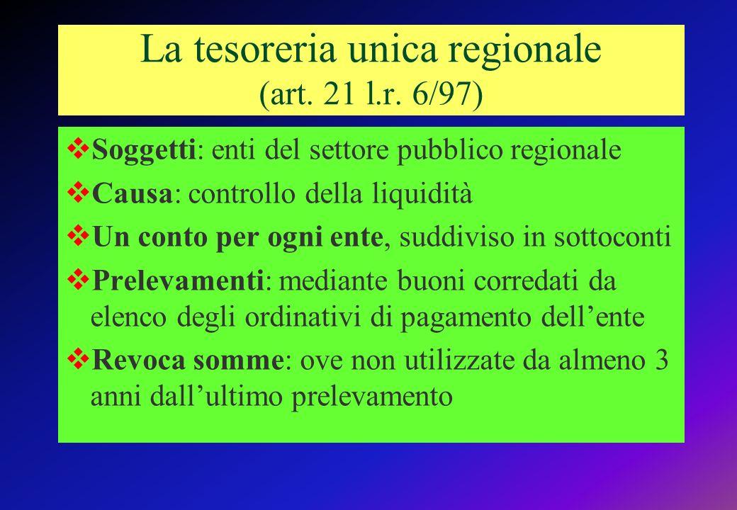 La tesoreria unica regionale (art.21 l.r.