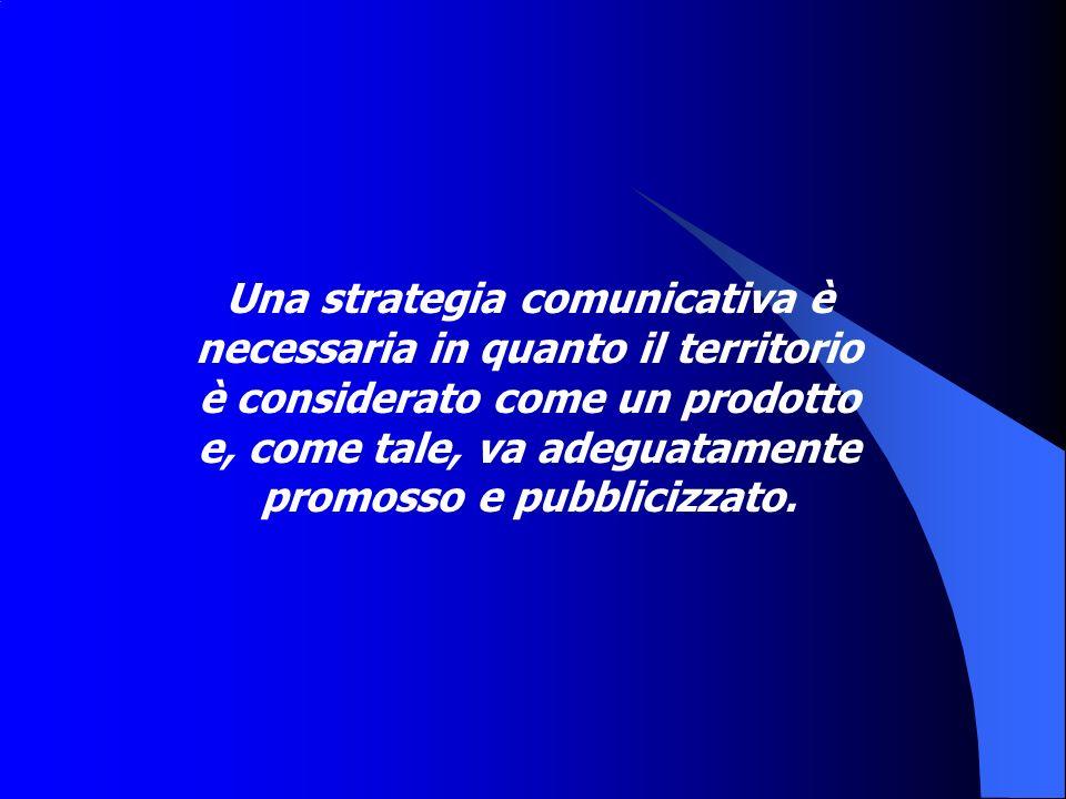 Una strategia comunicativa è necessaria in quanto il territorio è considerato come un prodotto e, come tale, va adeguatamente promosso e pubblicizzato