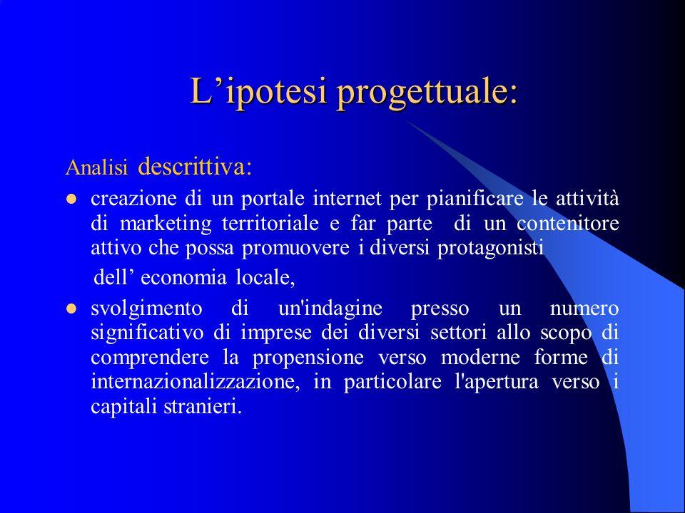 Lipotesi progettuale: Analisi descrittiva: creazione di un portale internet per pianificare le attività di marketing territoriale e far parte di un co