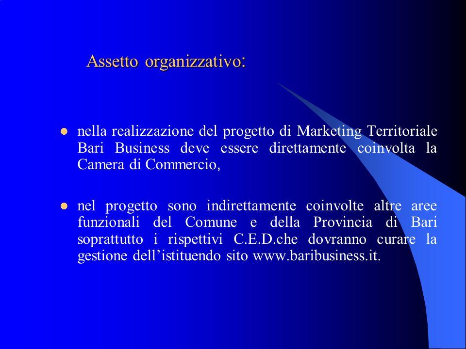 Assetto organizzativo : nella realizzazione del progetto di Marketing Territoriale Bari Business deve essere direttamente coinvolta la Camera di Comme