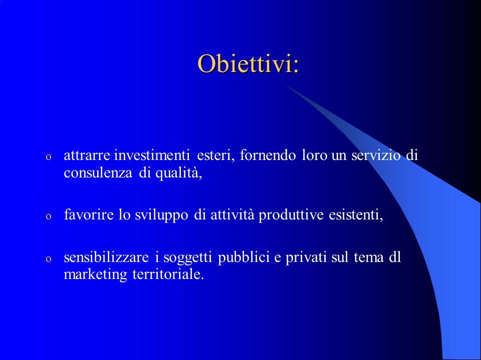 Obiettivi: o attrarre investimenti esteri, fornendo loro un servizio di consulenza di qualità, o favorire lo sviluppo di attività produttive esistenti