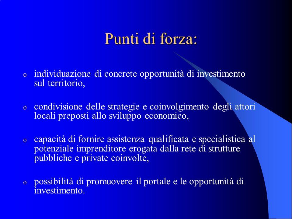 Punti di forza: o individuazione di concrete opportunità di investimento sul territorio, o condivisione delle strategie e coinvolgimento degli attori