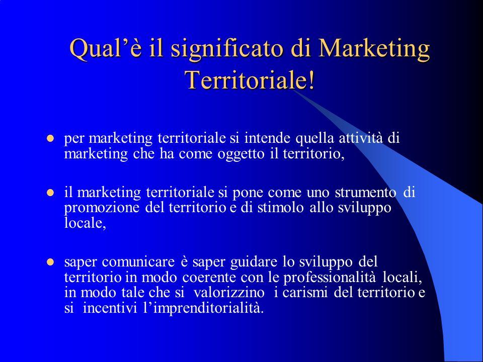 Qualè il significato di Marketing Territoriale! per marketing territoriale si intende quella attività di marketing che ha come oggetto il territorio,