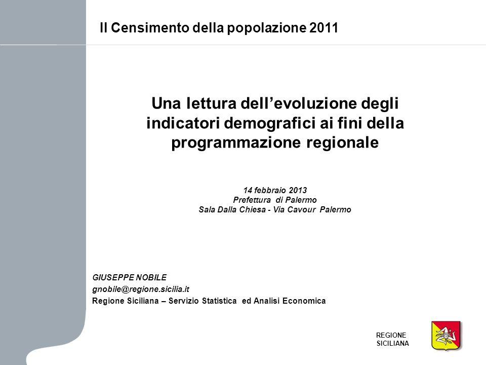 REGIONE SICILIANA Il confronto 2001-2011 – Indice di dipendenza dei giovani Dato il peso relativamente maggiore delle relative classi detà, lindice ha un maggior valore nei comuni 20-50 mila abitanti