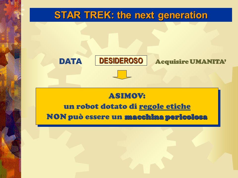 STAR TREK: the next generation DATA Acquisire UMANITADESIDEROSO ASIMOV: un robot dotato di regole etiche macchina pericolosa NON può essere un macchina pericolosa ASIMOV: un robot dotato di regole etiche macchina pericolosa NON può essere un macchina pericolosa