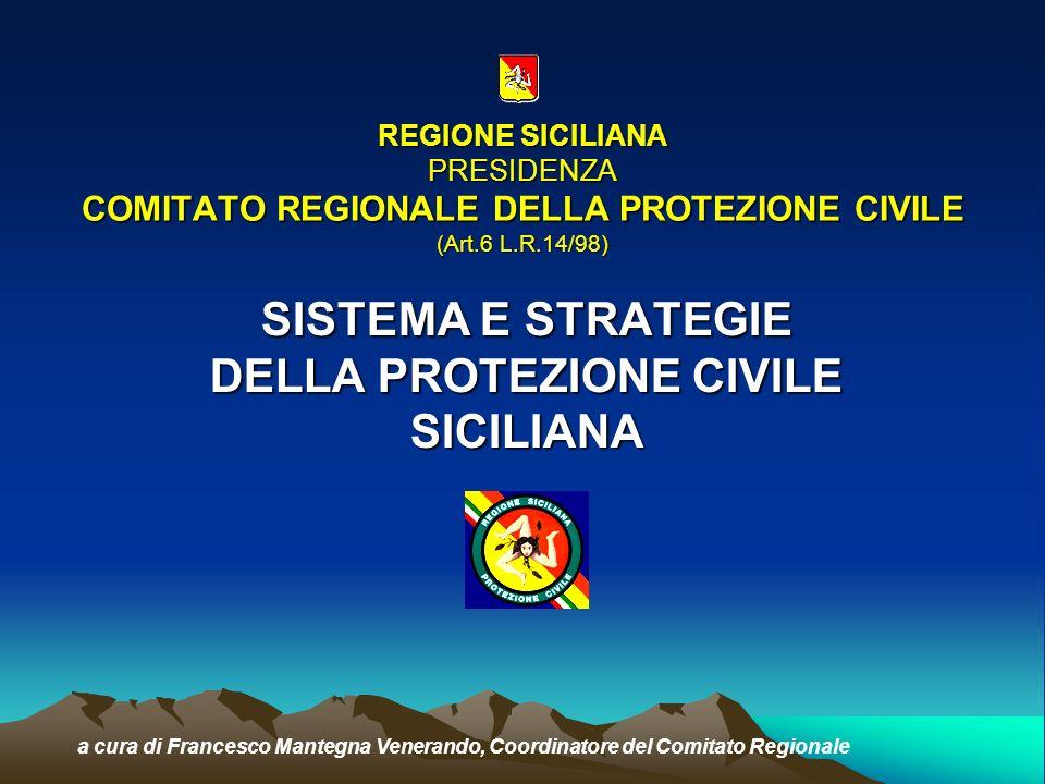 COMITATO REGIONALE PROTEZIONE CIVILE ESPERTI DELLA PRESIDENZA PRESIDENTE DELLA REGIONE o ASSESSORE DELEGATO SERVIZIO TECNICO IDROGRAFICO DIPARTIMENTO REGIONALE PROTEZIONE CIVILE SISTEMA SORVEGLIANZA SISMICA E VULCAN.