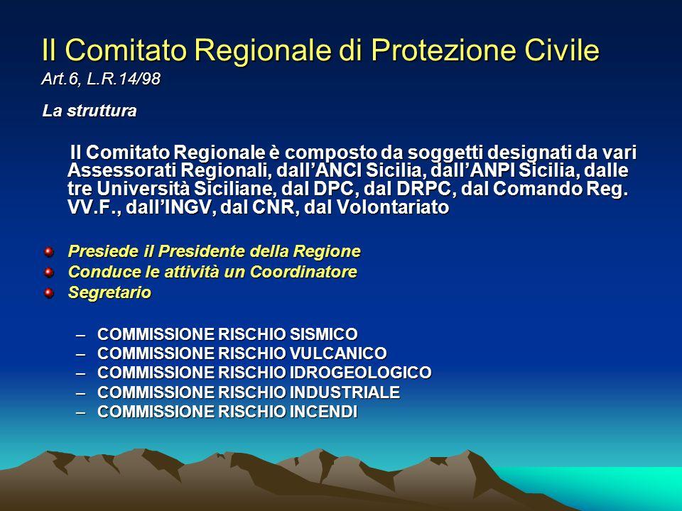 Il Comitato Regionale di Protezione Civile Art.6, L.R.14/98 La struttura Il Comitato Regionale è composto da soggetti designati da vari Assessorati Re