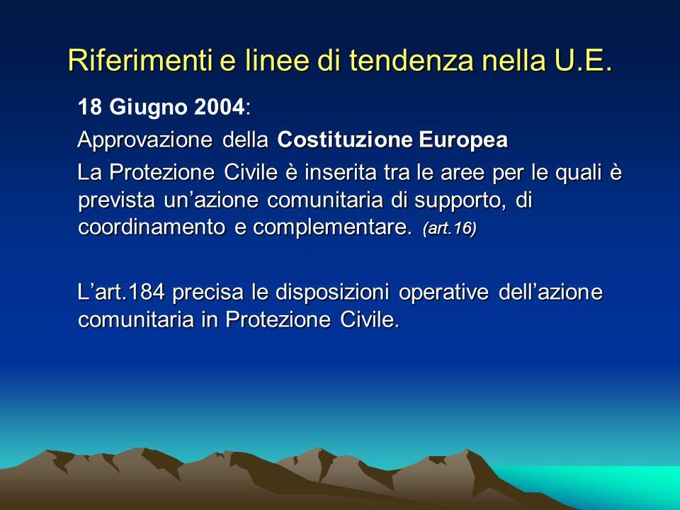 Riferimenti e linee di tendenza nella U.E. 18 Giugno 2004: Approvazione della Costituzione Europea La Protezione Civile è inserita tra le aree per le
