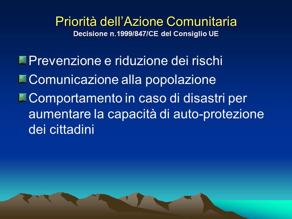 Priorità dellAzione Comunitaria Decisione n.1999/847/CE del Consiglio UE Prevenzione e riduzione dei rischi Comunicazione alla popolazione Comportamen