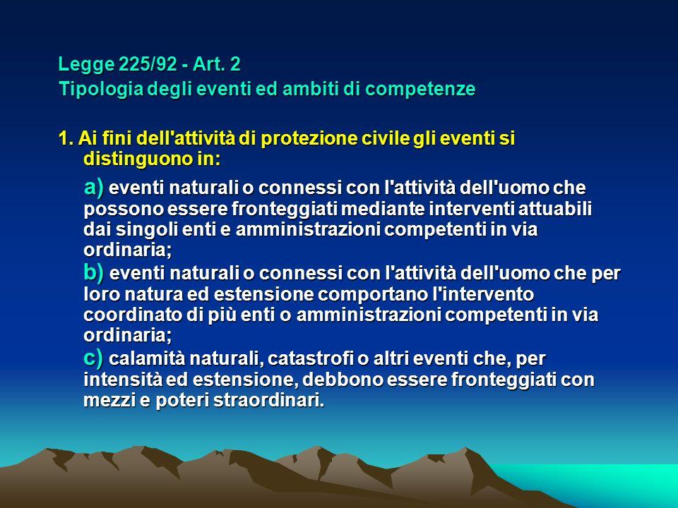 Legge 225/92 - Art. 2 Tipologia degli eventi ed ambiti di competenze 1. Ai fini dell'attività di protezione civile gli eventi si distinguono in: a) ev