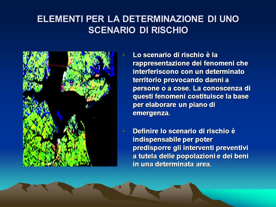 ELEMENTI PER LA DETERMINAZIONE DI UNO SCENARIO DI RISCHIO Lo scenario di rischio è la rappresentazione dei fenomeni che interferiscono con un determin
