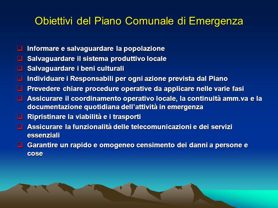 Obiettivi del Piano Comunale di Emergenza Informare e salvaguardare la popolazione Informare e salvaguardare la popolazione Salvaguardare il sistema p