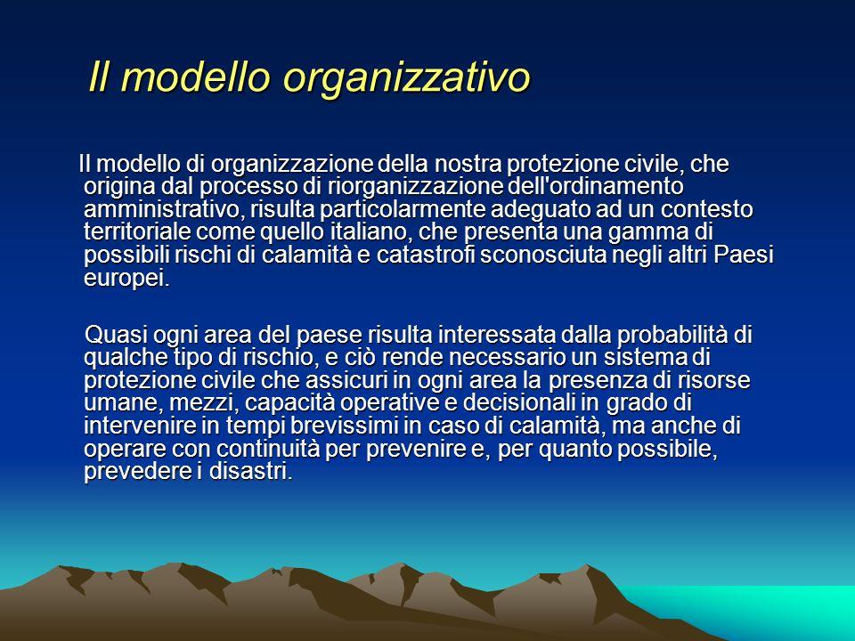 Il modello organizzativo Il modello organizzativo Il modello di organizzazione della nostra protezione civile, che origina dal processo di riorganizza