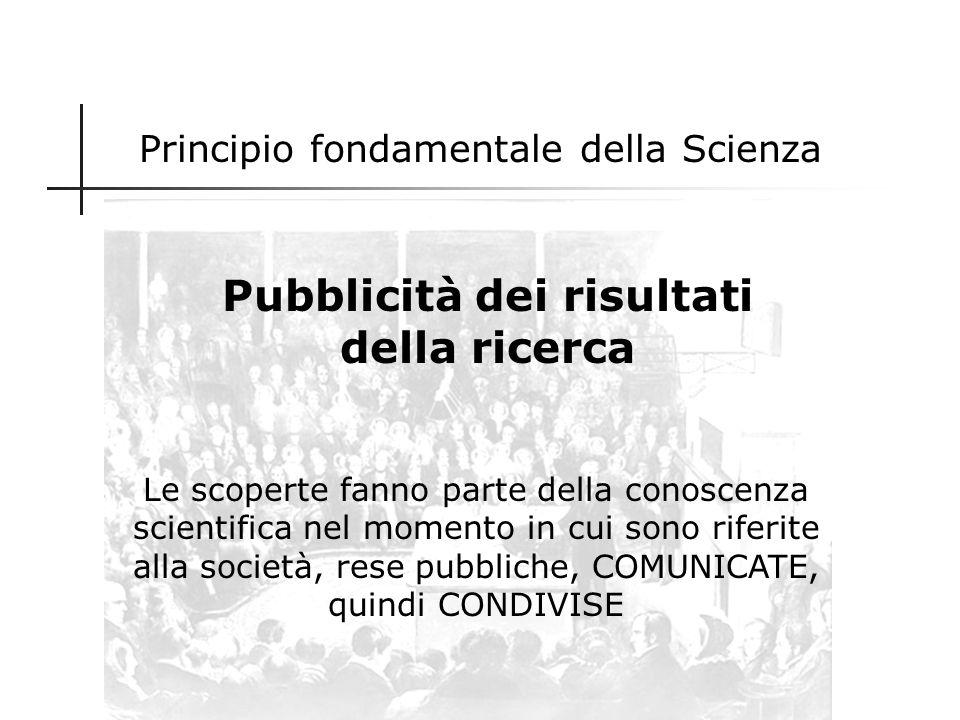 Il processo scientifico 1.Ricerca 2.Comunicazione dei risultati della ricerca