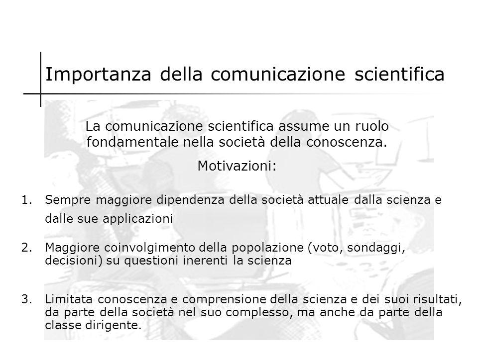Premessa La comunicazione scientifica è una disciplina oggi emergente, quindi ancora priva di una piena affermazione accademica. La bibliografia in me