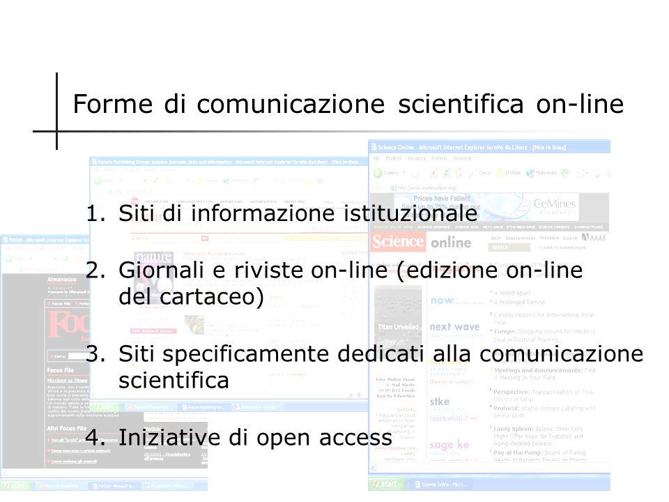 Nuova modalità di comunicazione della scienza Comunicazione formale Comunicazione informale Scritta Letteratura primaria e secondaria Lettere, Quadern