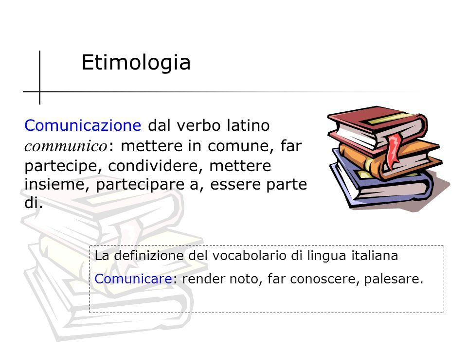 Per giungere ad una definizione facciamo riferimento a due elementi: 1.Etimologia 2.Teorie della comunicazione