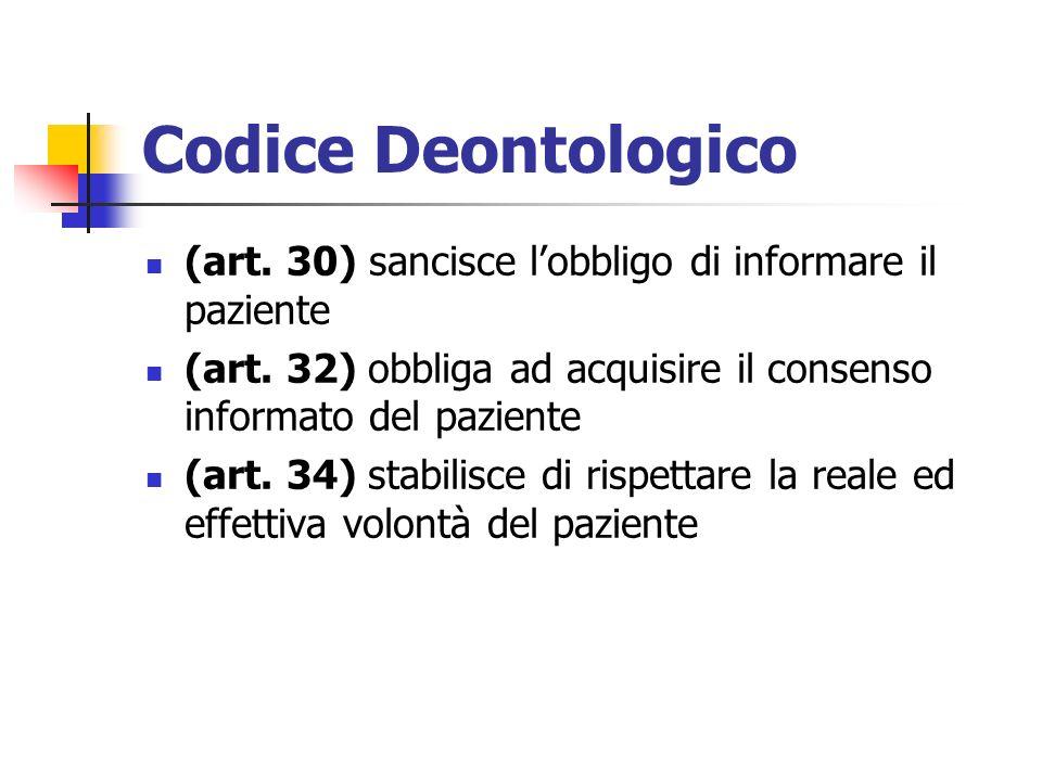 Codice Deontologico (art. 30) sancisce lobbligo di informare il paziente (art. 32) obbliga ad acquisire il consenso informato del paziente (art. 34) s