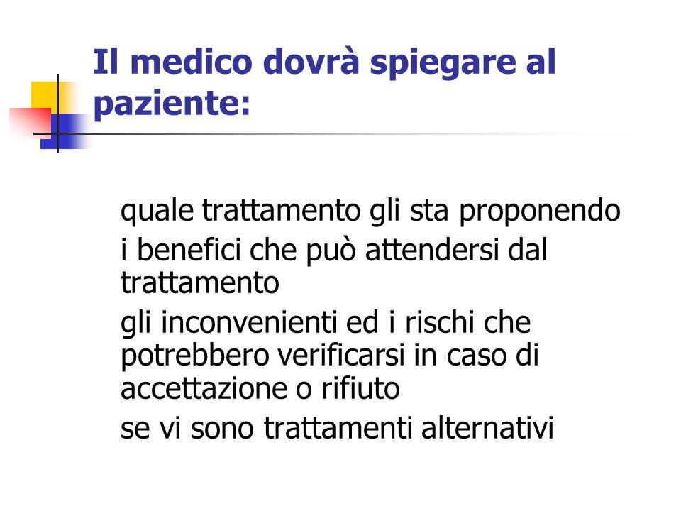 Il medico dovrà spiegare al paziente: quale trattamento gli sta proponendo i benefici che può attendersi dal trattamento gli inconvenienti ed i rischi