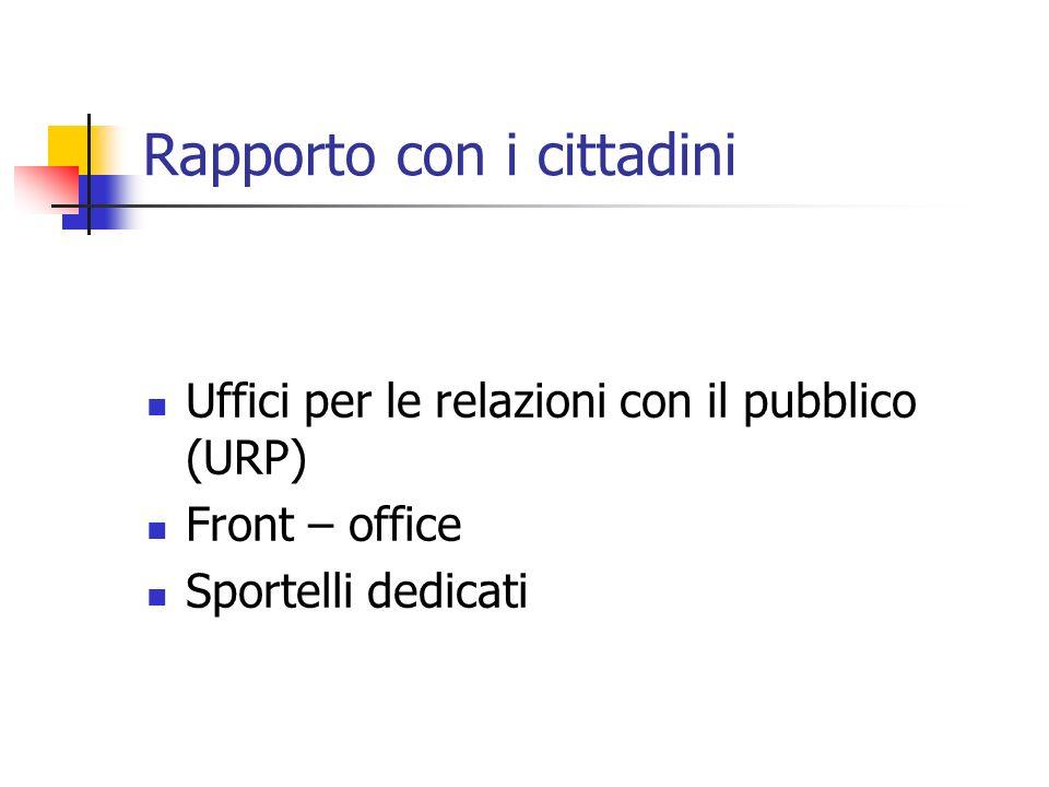Rapporto con i cittadini Uffici per le relazioni con il pubblico (URP) Front – office Sportelli dedicati