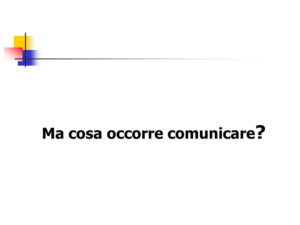 Ma cosa occorre comunicare ?